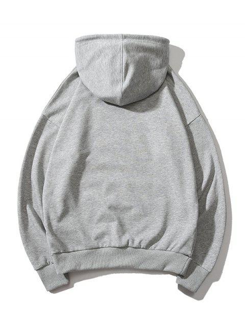 指心臟圖形打印液滴肩休閒帽衫 - 灰色 XL Mobile