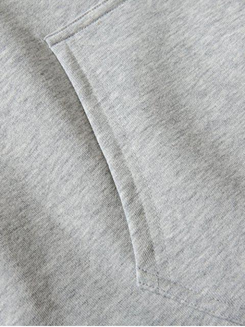 指心臟圖形打印液滴肩休閒帽衫 - 灰色 S Mobile