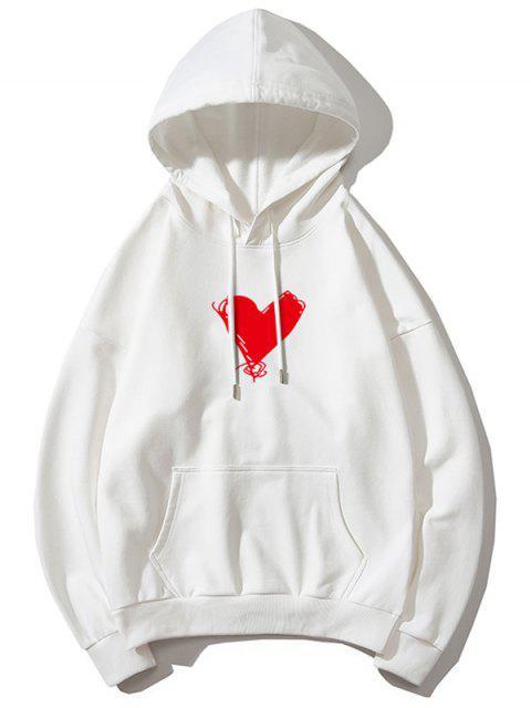 心臟打印袋鼠口袋套衫連帽衫 - 白色 M Mobile