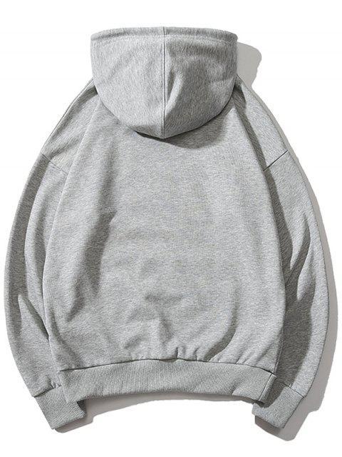 心臟打印袋鼠口袋套衫連帽衫 - 灰色 L Mobile