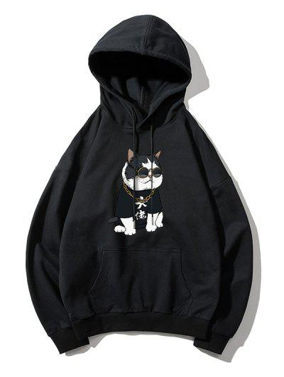 Cool Cat Pattern Print Hoodie - Black M
