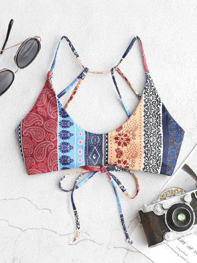 ZAFUL Bohemian Flower Paisley Strappy Bikini Top - Multi-a S