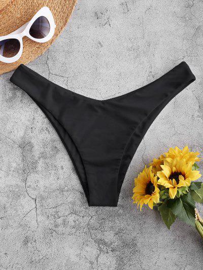 ZAFUL Bikini Bottom Con Taglio AltoinTintaUnita - Nero L