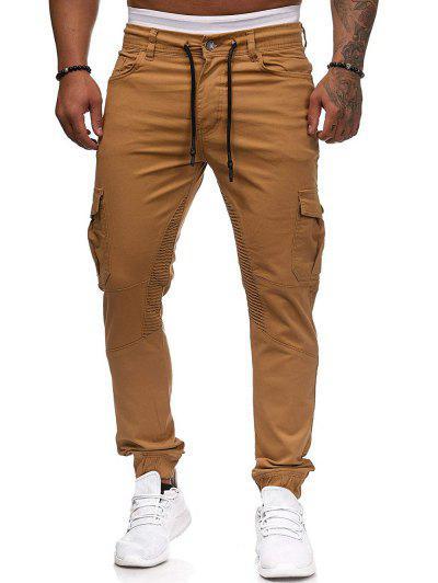 Pleated Trim Drawstring Cargo Jogger Pants - Khaki Xl
