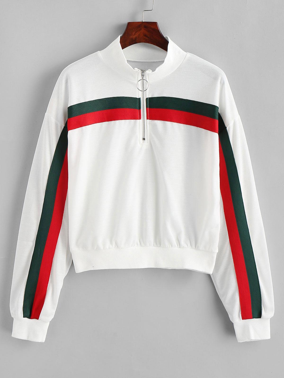 Pull Ring Zipper Striped Drop Shoulder Sweatshirt фото