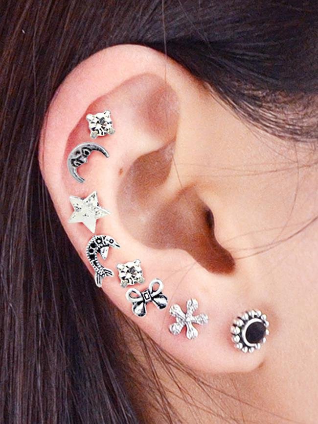 Ethnic Moon Star Bow Rhinestone Stud Earring Set, Silver