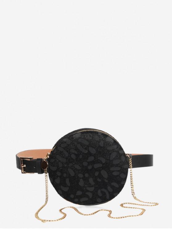 online Leopard Chain Round Shoulder Bag - BLACK