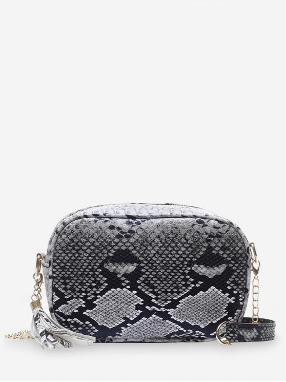 outfits Snakeskin Pattern Crossbody Shoulder Bag - BLACK