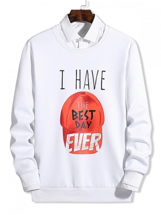ladies Cap Pattern Best Day Letter Graphic Print Pullover Sweatshirt - WHITE XS