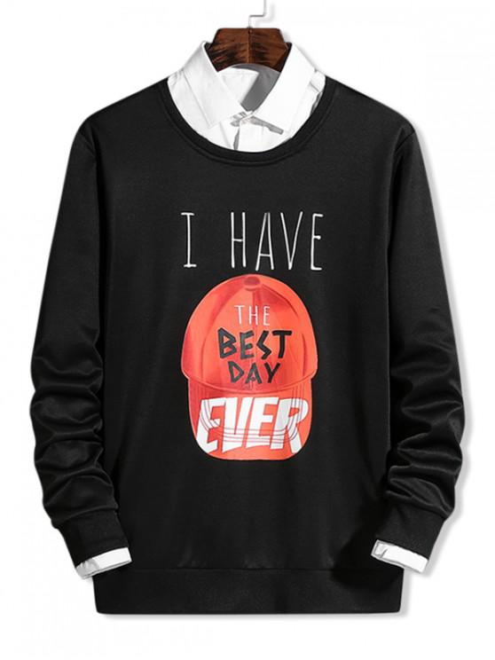 outfit Cap Pattern Best Day Letter Graphic Print Pullover Sweatshirt - BLACK S