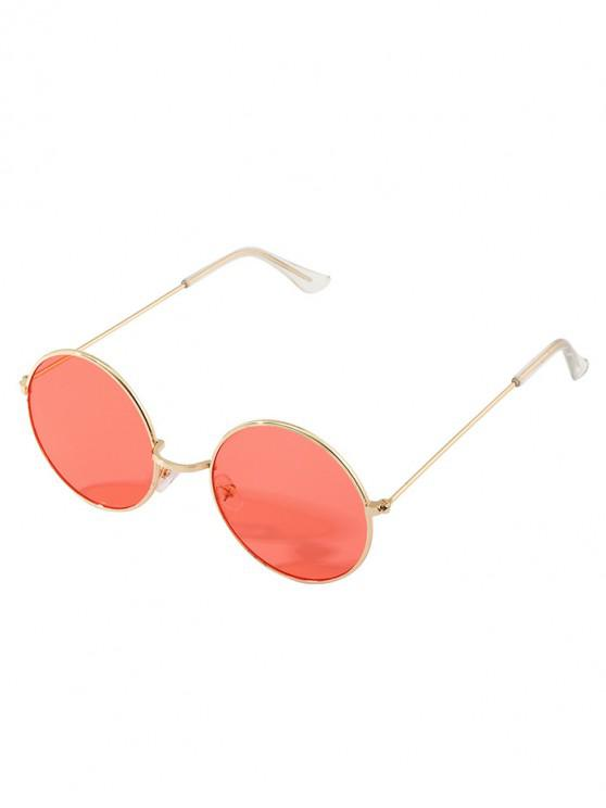 trendy Vintage Round Metal Rim Sunglasses - RED