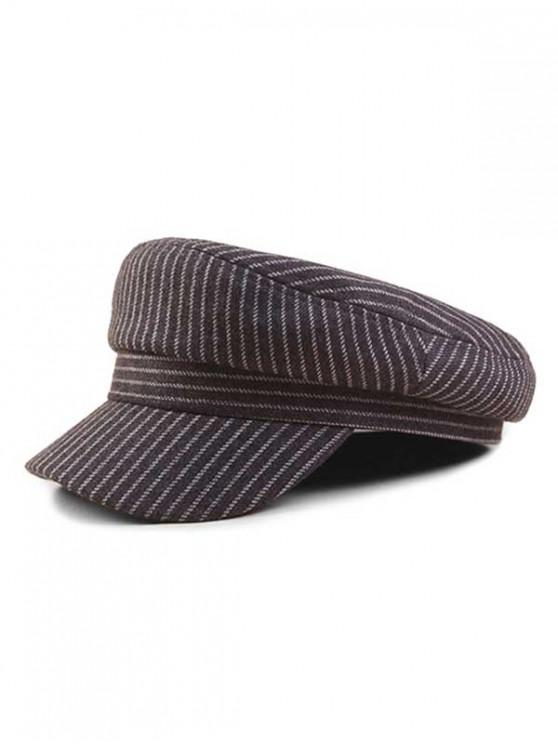 latest Vintage Striped Flat-topped Military Caps - GRAY