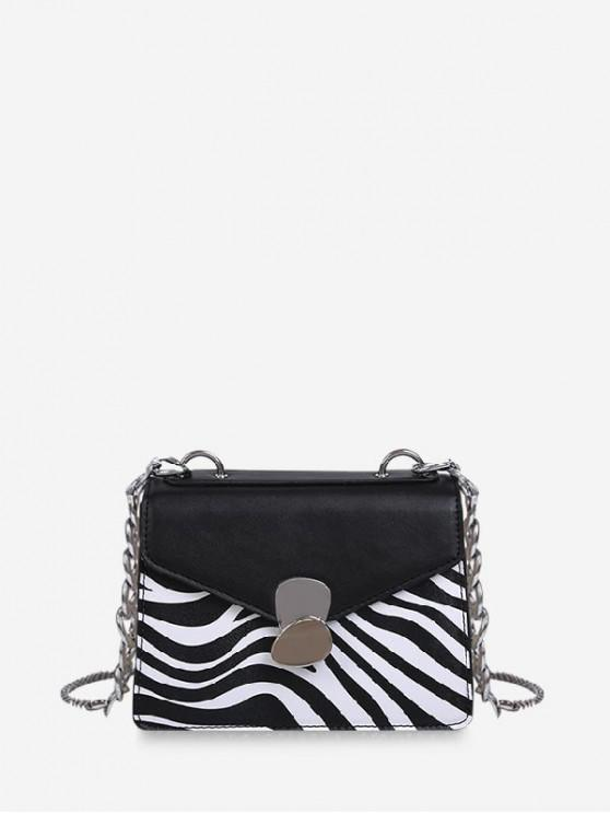 shops Zebra Skin Print Chain Hasp Shoulder Bag - BLACK