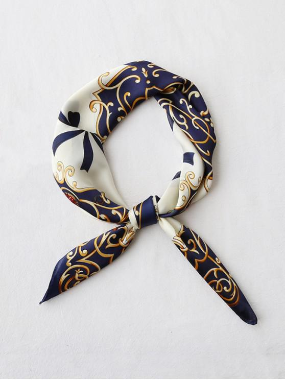 buy Bowknot Ribbon Printed Silky Square Scarf - CADETBLUE