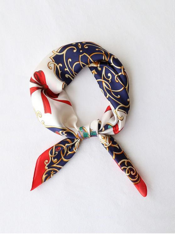 Écharpe Carrée Soyeuse Imprimée Ruban avec Nœud Papillon - Rouge