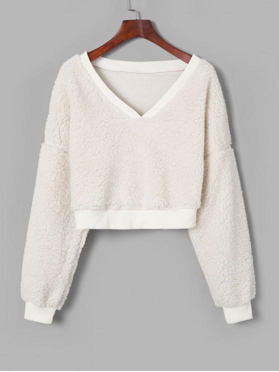 Künstliche Pelz-Crop -Sweatshirt mit V-Ausschnitt - Weiß M