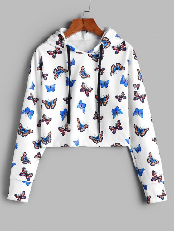 lady ZAFUL Cropped Gorgeous Butterfly Print Hoodie - WHITE M