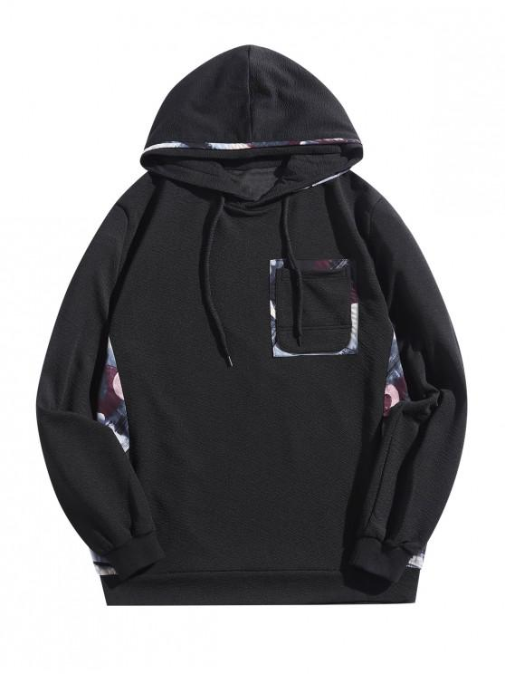 womens Painting Print Patchwork Splicing Chest Pocket Hoodie - BLACK M