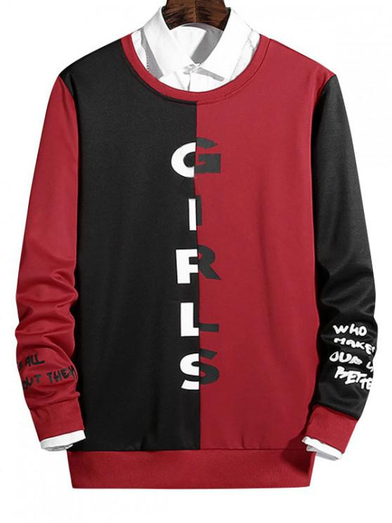 shops Two Tone Spliced Letter Graphic Print Casual Sweatshirt - LAVA RED M