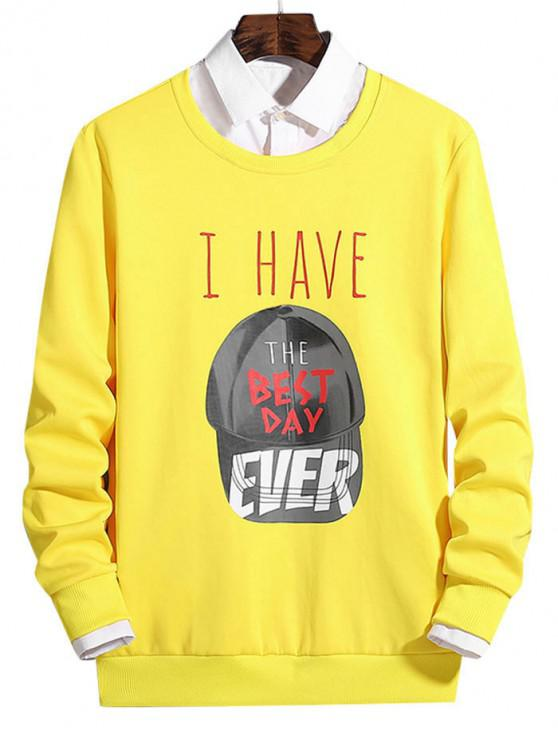 trendy Cap Pattern Best Day Letter Graphic Print Pullover Sweatshirt - CORN YELLOW S