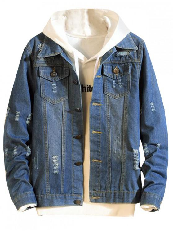 Destruye la chaqueta de jean casual de patchwork de scratch - Azul de Dodgers XS