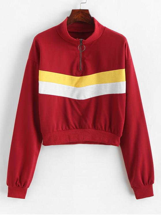 fashion O-ring Zip Color Block Sweatshirt - MULTI-A L