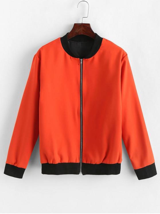 Blouson Bicolore Zippé Contrasté Côtelé - Orange XL