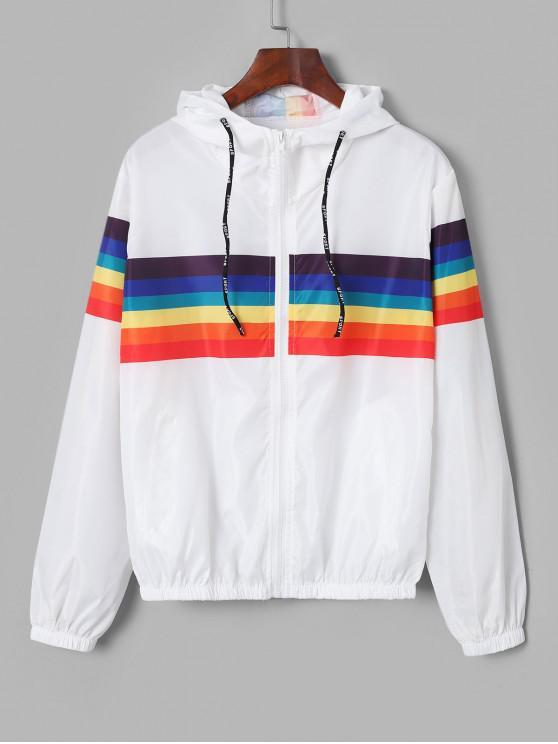 women's Zip Up Rainbow Stripes Windbreaker Jacket - WHITE S