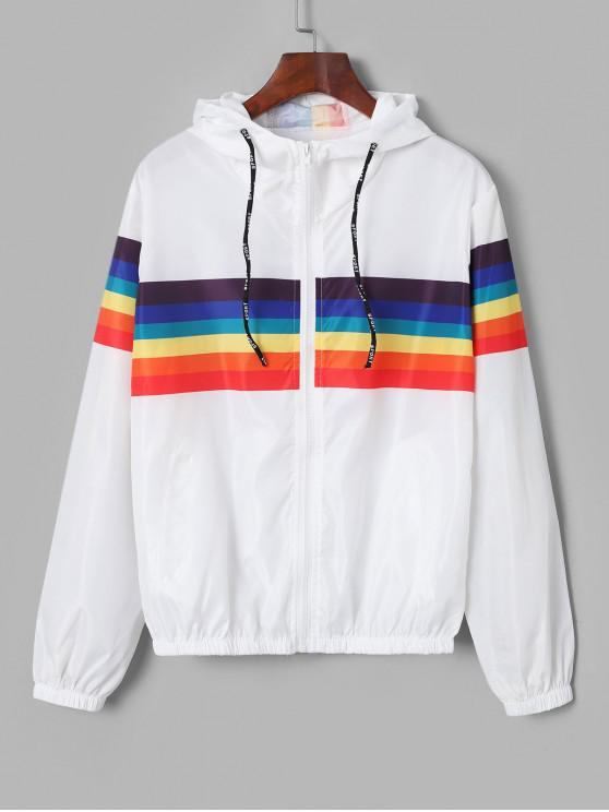 ladies Zip Up Rainbow Stripes Windbreaker Jacket - WHITE M