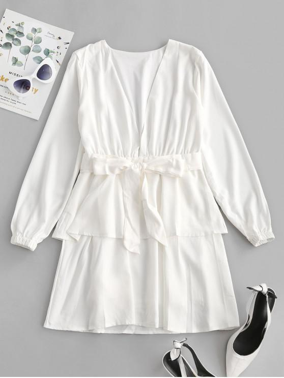 shops Plunge Layered Long Sleeve Belted Mini Dress - MILK WHITE XL