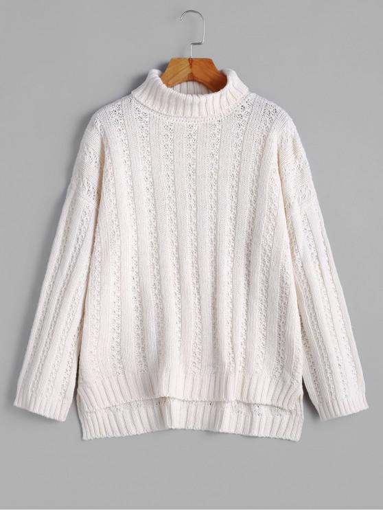 shops Turtleneck Drop Shoulder High Low Sweater - WARM WHITE ONE SIZE