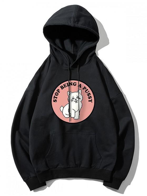 women's Cat Pattern Print Hoodie - BLACK L