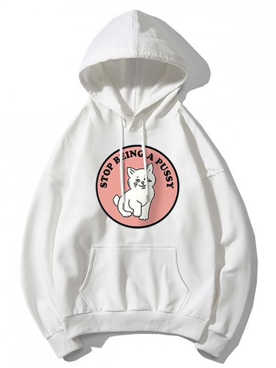 affordable Cat Pattern Print Hoodie - WHITE M