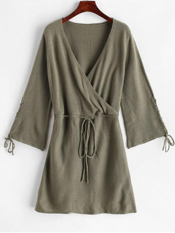 buy Drawstring Lace Up Surplice Sweater Dress - GREEN M