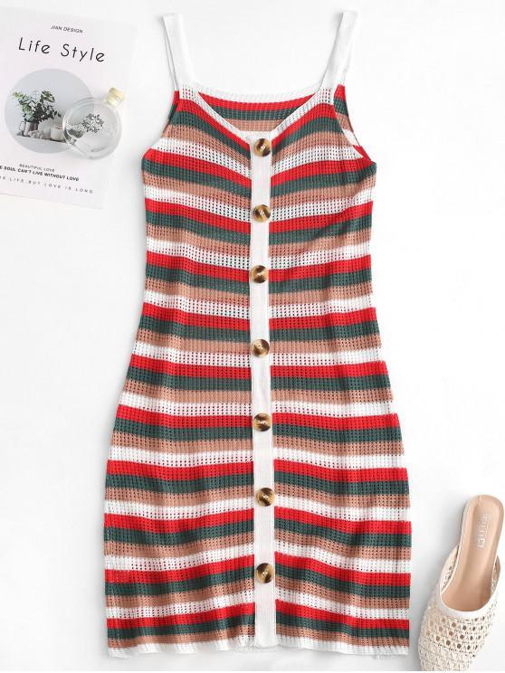 chic Stripes Buttoned Sweater Mini Dress - MULTI M