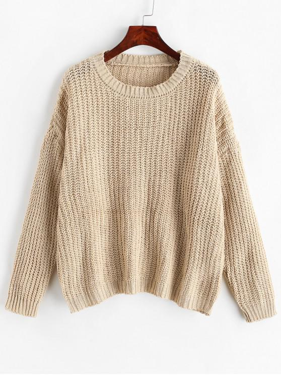 chic Chunky Knit Drop Shoulder Boyfriend Sweater - LIGHT KHAKI ONE SIZE