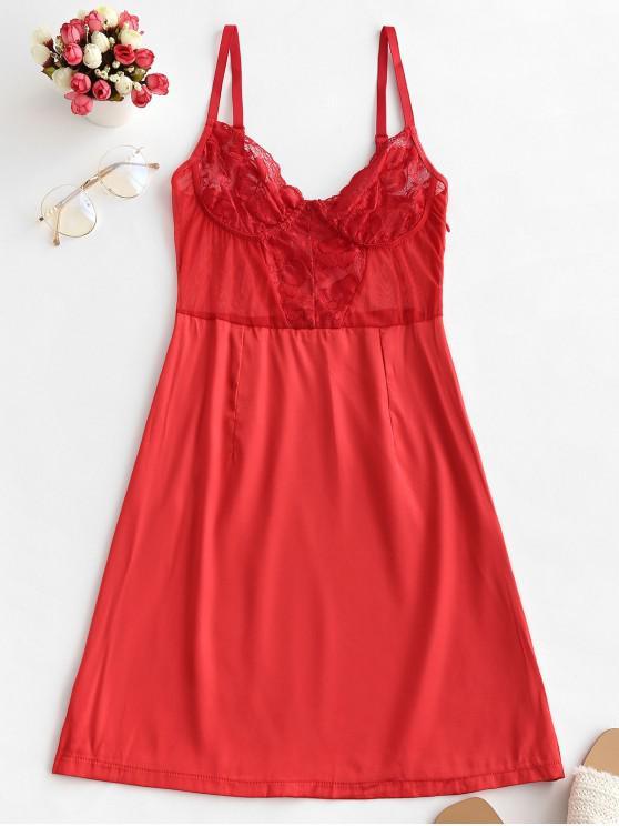women's Satin Lace Insert Lingerie Babydoll - LAVA RED S