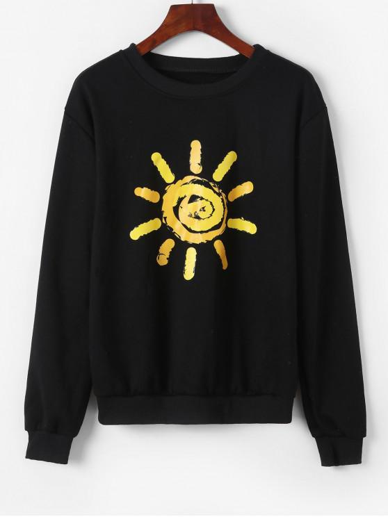 ladies Pullover Bright Sun Graphic Sweatshirt - BLACK S