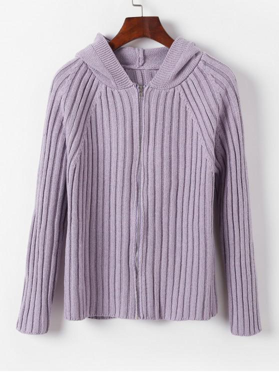 new Raglan Sleeve Zip Up Hooded Cardigan - LILAC ONE SIZE