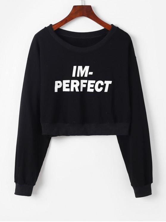 womens Pullover Perfect Graphic Cropped Sweatshirt - BLACK ONE SIZE