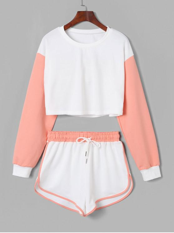 hot ZAFUL Color Block Drop Shoulder Drawstring Shorts set - MULTI-A S