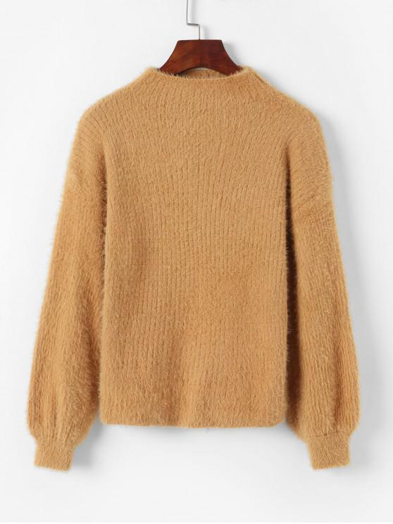 affordable Fuzzy Mock Neck Pullover Sweater - BROWN ONE SIZE