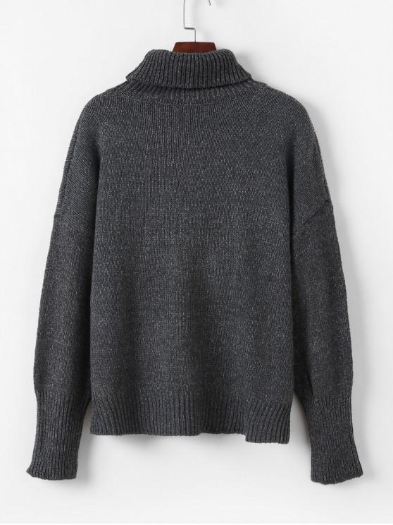 outfits Drop Shoulder Heathered Turtleneck Sweater - GRAY ONE SIZE