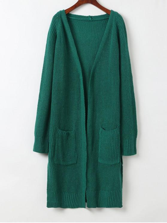 outfit Longline Open Front Slit Pockets Cardigan - GREEN ONE SIZE