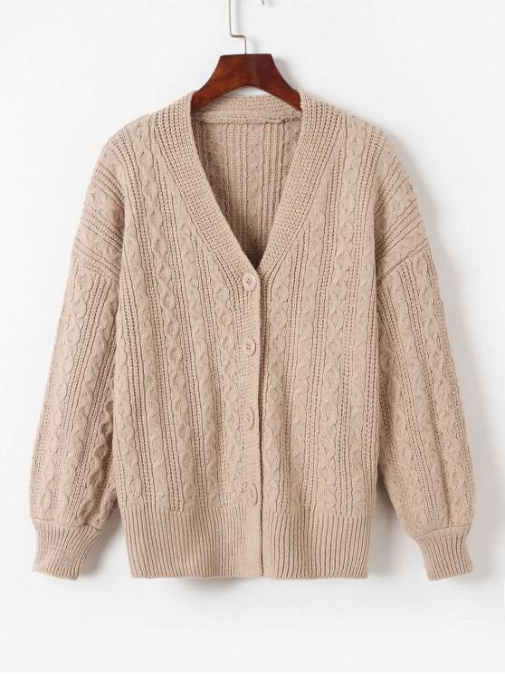 shop V Neck Button Up Cable Knit Cardigan - LIGHT KHAKI ONE SIZE
