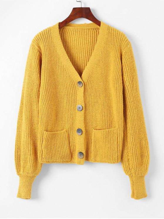 chic V Neck Button Up Pockets Cardigan - YELLOW ONE SIZE