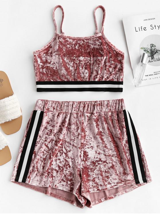 lady ZAFUL Velvet Stripe Tape Cami Two Piece Shorts Set - PINK ROSE S