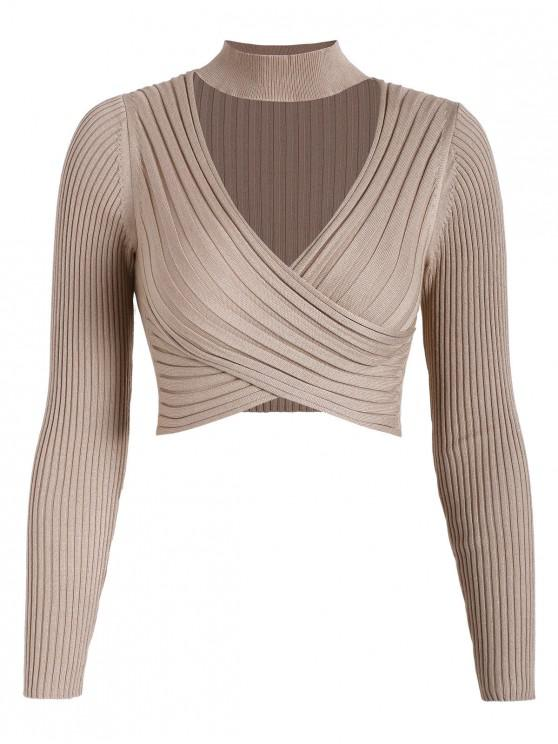 shops Cross Front Choker Cropped Pullover Sweater - TAN S