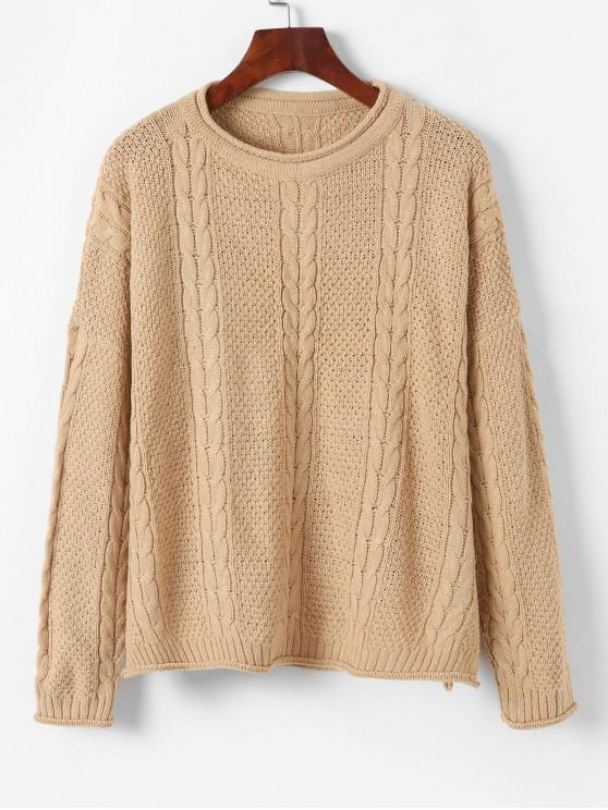 trendy Pullover Drop Shoulder Cable Knit Sweater - LIGHT KHAKI ONE SIZE