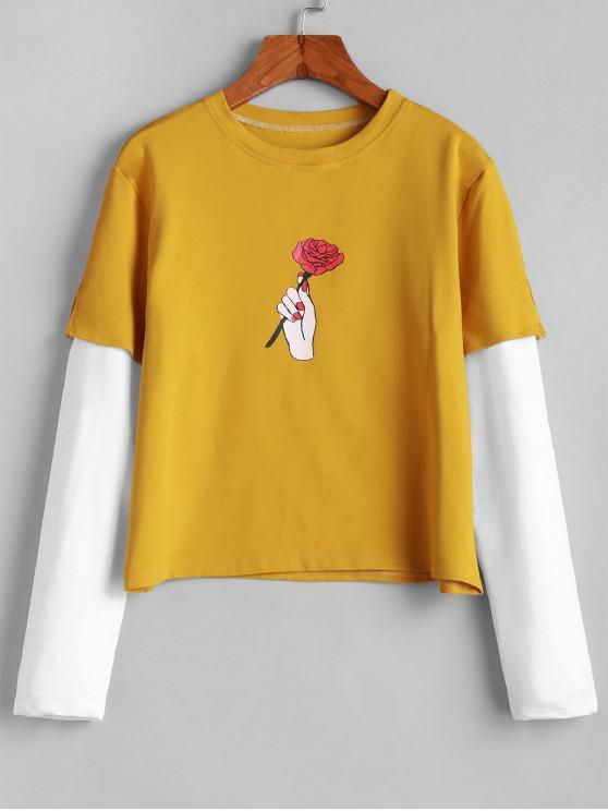 ladies ZAFUL Hold Your Rose Graphic 2fer Sweatshirt - BEE YELLOW M